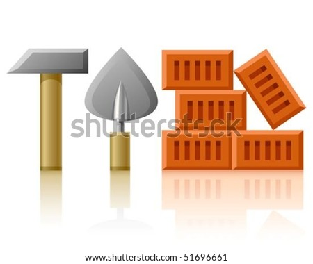 building tools hammer trowel and bricks vector illustration, isolated on white background