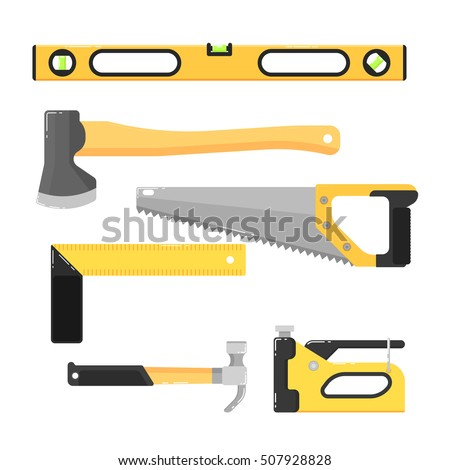 Building tools isolated on white background vector illustration. Hammer, saw, axe, stapler and other in flat design. Hand tools for carpentry and home renovation. DIY set. Construction equipment.