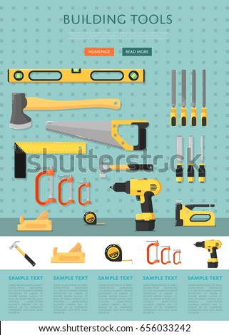Building tools website template for store vector illustration. Hand tools for carpentry and home renovation. DIY set. Hardware store banner. Construction equipment. Hand holding power tools.