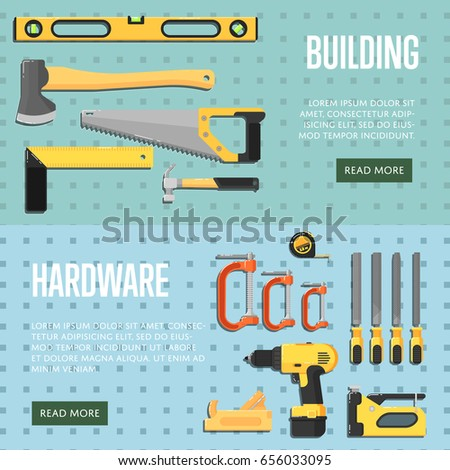 Building tools website templates for store vector illustration. Hand tools for carpentry and home renovation. DIY set. Hardware store banner. Construction equipment. Hand holding power tools.