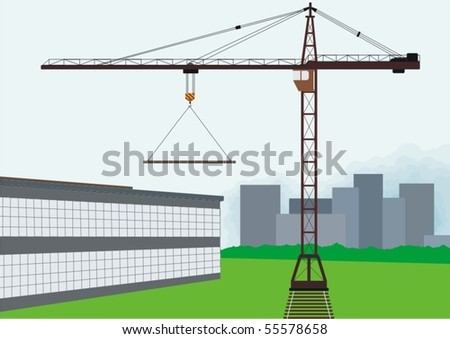 Building. Tower crane involved for the construction of the building. - stock vector
