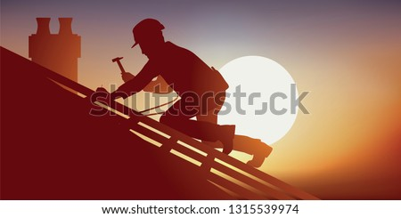 Building tradesman with a roofer on the roof of a house laying tiles, squatting on a frame he works under an overwhelming heat.