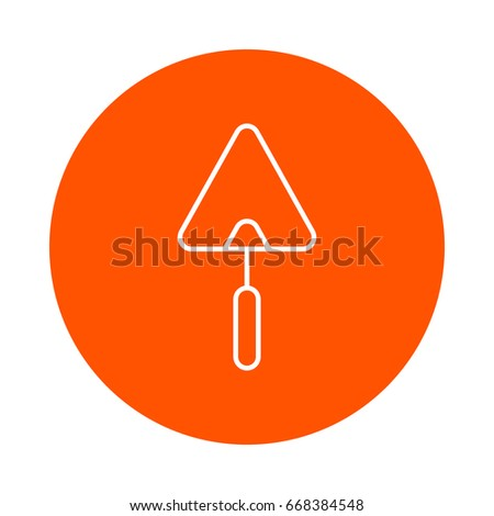 Building trowel for brick masonry, vector round line icon, flat style, simple color change