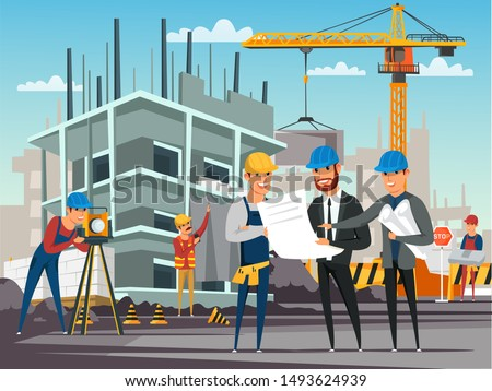 Building under construction flat illustration. Foreman and architects discussing architectural project, builders on construction site cartoon characters. Engineers showing blueprint