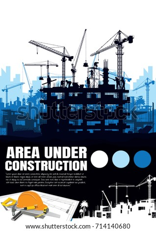 Building under Construction site,Construction crane silhouette vector.