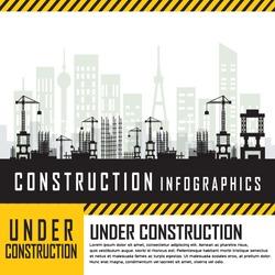 Building under Construction site,Construction infographics,Vector illustration template design