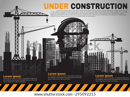 Building Under Construction SiteConstruction InfographicsVector Illustration Template Design