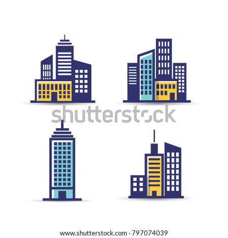 Building vector icon set isolated on white background