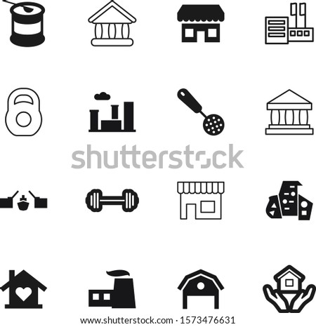 building vector icon set such as: grocery, green, classic, factory, river, environment, steel, open, finance, whey, road, judicial, bcaa, commerce, saint, petersburg, plate, kitchen, refinery