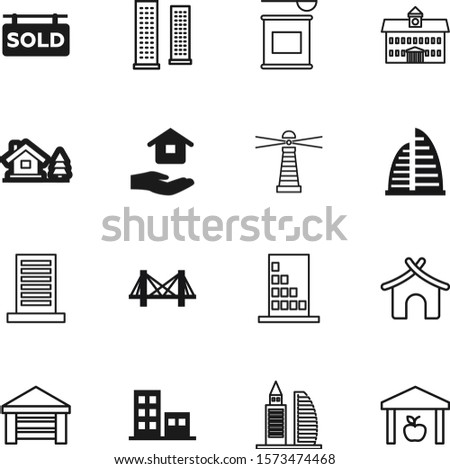building vector icon set such as: hand, shipping, garage, town, signal, road, lighthouse, nutritional, library, advertisement, coast, block, abstract, bottle, whey, gym, pictogram, bcaa, cargo