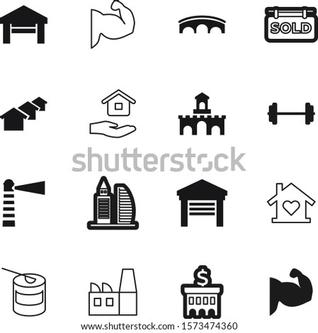 building vector icon set such as: historical, advertisement, history, training, holding, classic, engineering, ancient, dumbbell, commercial, three, heart, whey, finance, roof, equipment, gainer