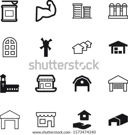 building vector icon set such as: linear, food, residential, nutrition, healthy, religion, jar, agricultural, gate, weight, orange, green, outline, wheat, whey, government, gym, holding, protein