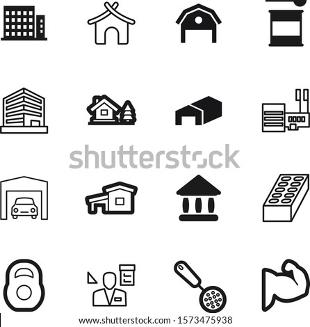 building vector icon set such as: nutrition, protein, dumbbell, jar, greece, 3d, court, measurement, manager, user, stone, drawing, strength, orange, whey, delivery, iron, roof, barn, man, pictogram