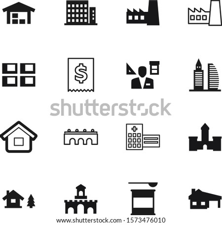 building vector icon set such as: pictogram, powder, supplements, lines, lodge, industry, businessman, log, whey, cost, fantasy, chalet, clinic, fairytale, mark, digital, knight, storage, man
