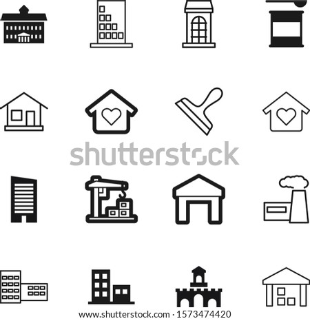 building vector icon set such as: rent, lifting, lift, museum, fort, square, high, decorative, kingdom, fantasy, rise, tool, power, judicial, hospital, arch, whey, protein, castle, hotel, wheel