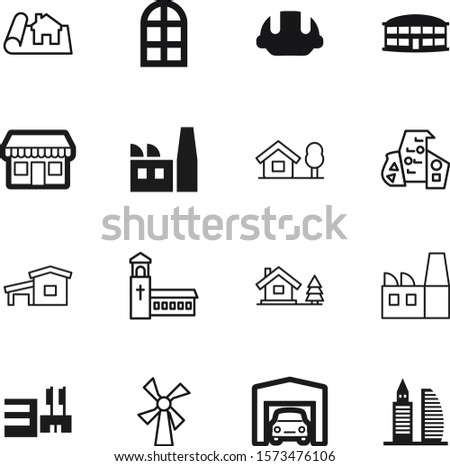 building vector icon set such as: set, center, car, facade, restaurant, blueprint, sale, centre, engineer, floor, agriculture, inside, religion, church, grocery, transport, hat, decorative, aircraft