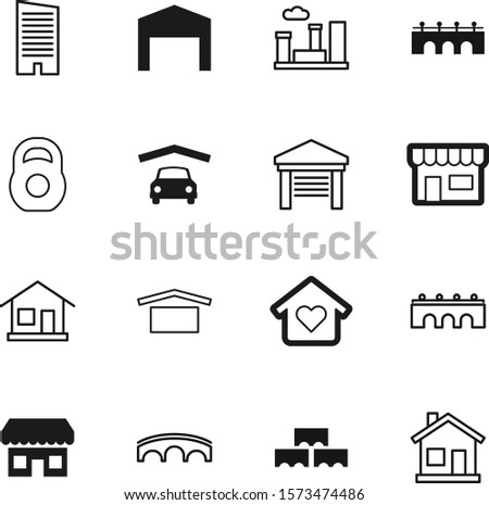 building vector icon set such as: set, heavy, strong, agriculture, weight, muscle, rise, material, apartment, lines, barn, iron, cityscape, dumbbell, town, bodybuilding, high, gym, icons, sport, red