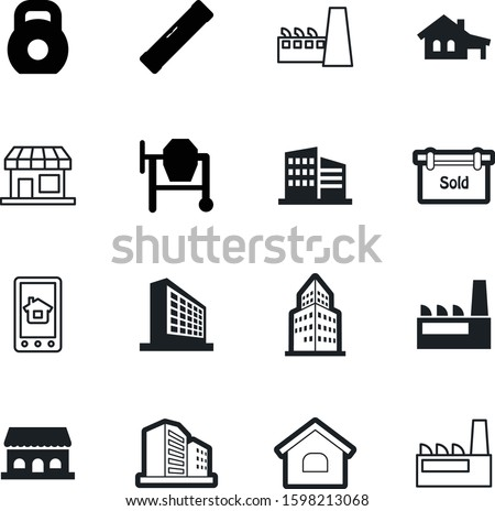 building vector icon set such as: set, network, gym, open, metal, reataurant, computer, online, concrete, bubble, signboard, bob, fitness, spirit, phone, storefront, roof, bank, homepage, technology