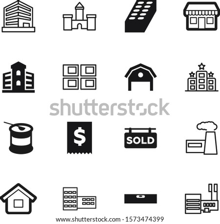 building vector icon set such as: window, shopping, bcaa, cost, engineering, calculator, heavy, supplements, plant, whey, gainer, gesture, refinery, cafe, bubble, instrument, coffee, icons, leveling