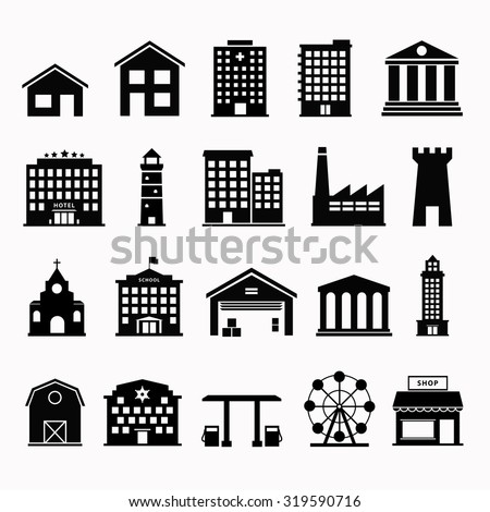 Building vector set isolated from background. Urban and government silhouettes of buildings.  Simple black sign houses.