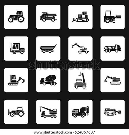 building vehicles icons set in