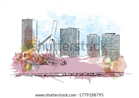 Building view with landmark of Abidjan is a city on the southern Atlantic coast of Cote d'Ivoire, in West Africa. Watercolor splash with hand drawn sketch illustration in vector. Photo stock ©