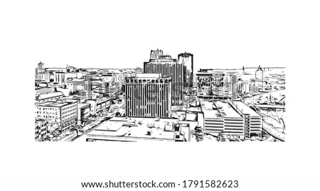 Building view with landmark of Akron is a city in Ohio. Hand drawn sketch illustration in vector.