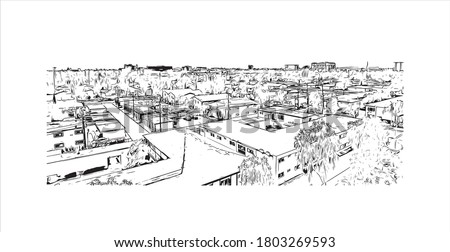 Building view with landmark of Anaheim is a city outside Los Angeles, in Southern California. Hand drawn sketch illustration in vector. Photo stock ©