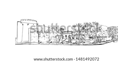 Building view with landmark of Muscat, Oman's port capital, sits on the Gulf of Oman surrounded by mountains and desert. Hand drawn sketch illustration in vector.