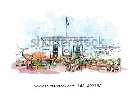 Building view with landmark of Muscat, Oman's port capital, sits on the Gulf of Oman surrounded by mountains and desert. Watercolor splash with Hand drawn sketch illustration in vector.