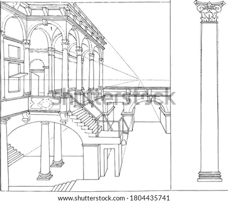 Building with columns and a column of the Composite order, Building with composite columns and a column of the Composite building order, vintage engraving.