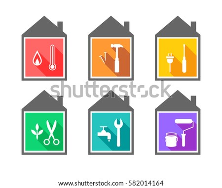 Building with work tools as repair and improvement concept. Working tool icons set in flat design.