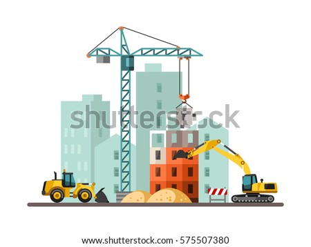 Building work process with houses and construction machines. Vector illustration.