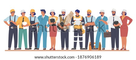 Building workers and engineers cartoon characters, flat vector illustration. Industrial workers, people of different building professions wearing hardhats and uniform. Construction industry. Photo stock ©