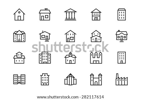 Buildings and Furniture Line Vector Icons 1