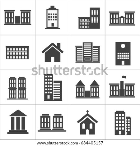Buildings and houses icons. Architecture icons. Utility, office, home and public service buildings and landmarks