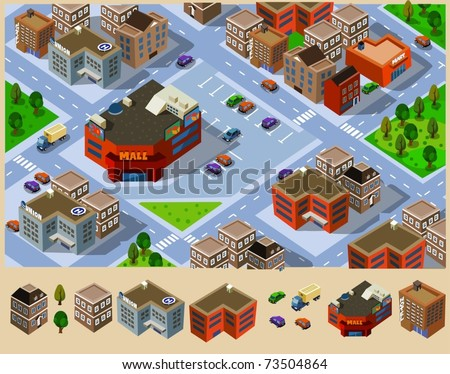Buildings and Mall in a city. Compose your own city
