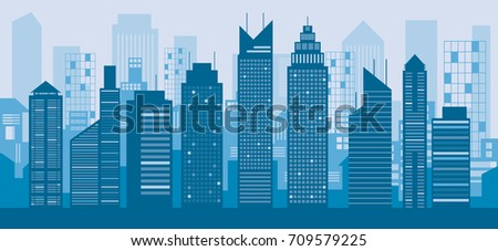 Buildings and Skyscrapers Blue Background, Cityscape, City, Residential, Silhouette