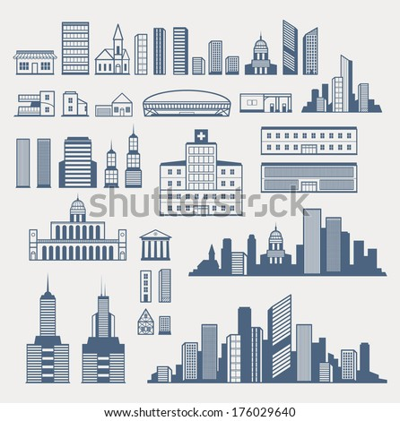 Buildings and structures. Easy to combine and create different city silhouettes. EPS8.