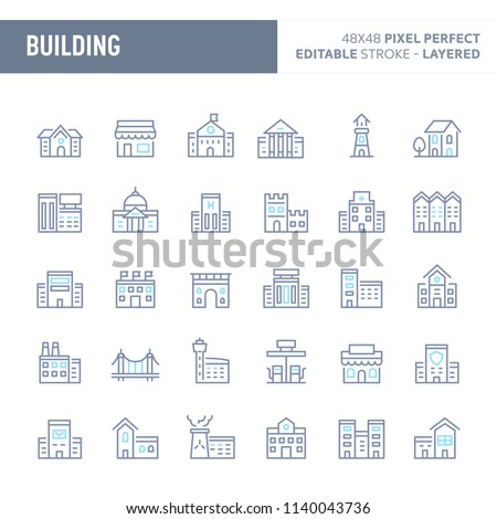 Buildings, architecture & structure  - simple outline icon set. Editable strokes and Layered (each icon is on its own layer with proper name) to enhance your design workflow.