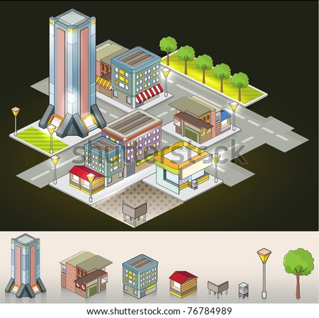 Buildings at night - isometric isolated objects