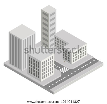 BUILDINGS, CITY ISOMETRIC ILLUSTRATION VECTOR