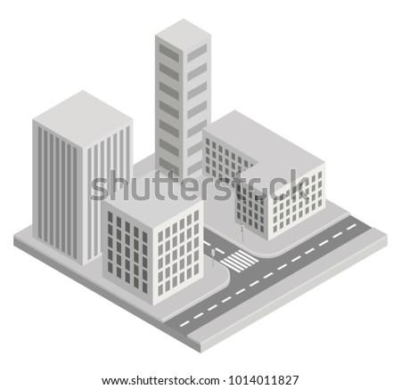 BUILDINGS, CITY ISOMETRIC ILLUSTRATION VECTOR