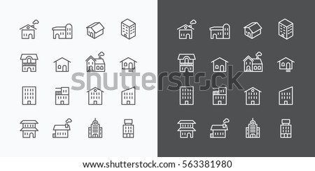 Buildings Collection icons set. flat line design vector for Web and Mobile.