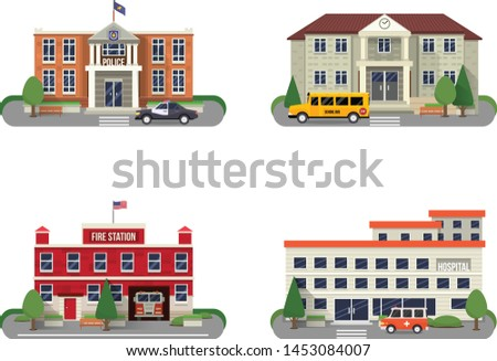 Buildings Color Flat vector Icons