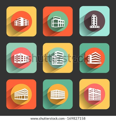buildings flat design icon set. template elements for web and mobile applications