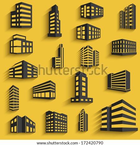 buildings flat design web icons