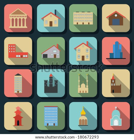 Buildings flat icons vector set
