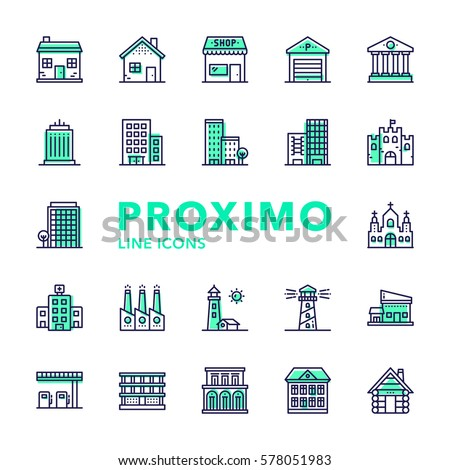 Buildings Futuristic Modern Material Design Line Vector Icons