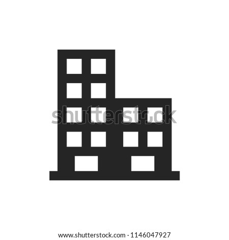 Buildings icon. Architecture symbol. Residential sign, flat vector element isolated on white background. Simple vector illustration for graphic and web design.